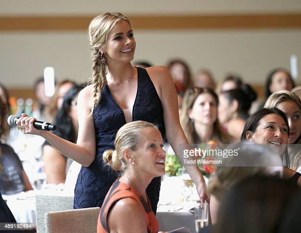 Host Brianna Brown speaks during the 4th Annual Women Making History Brunch presented by the National Women's History Museum and Glamour Magazine at...
