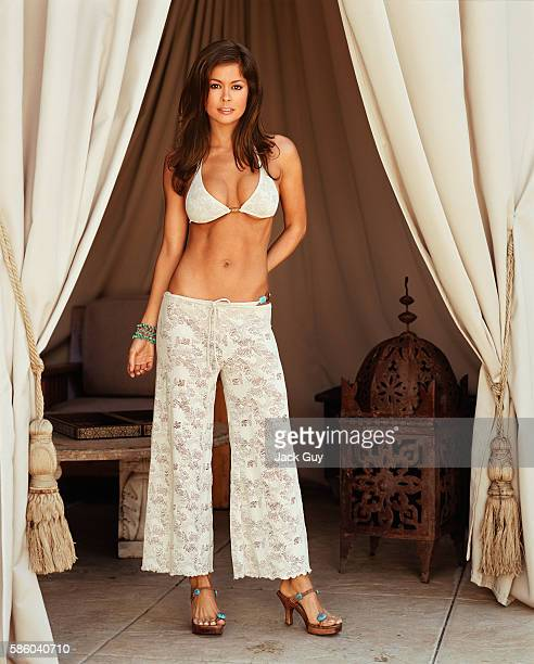 TV host Brooke Burke is photographed for In Touch Weekly on February 18 2003 at home in Los Angeles California