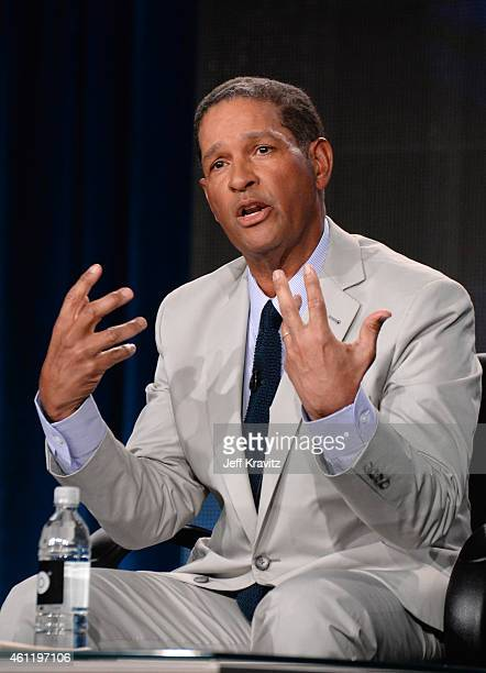 "Host Bryant Gumbel speaks onstage during the ""Real Sports with Bryant Gumbel"" panel as part of the 2015 HBO Winter Television Critics Association..."