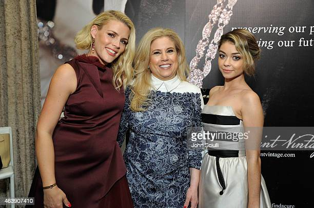 Host Busy Philipps Saint Vintage Founder Paige JansenNichols and Actress Sarah Hyland attend the 2nd Annual unite4humanity presented by ALCATEL...