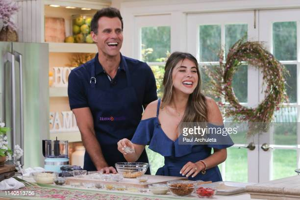 Host Cameron Mathison and actress Daniella Monet on the set of Hallmark's Home Family at Universal Studios Hollywood on April 04 2019 in Universal...