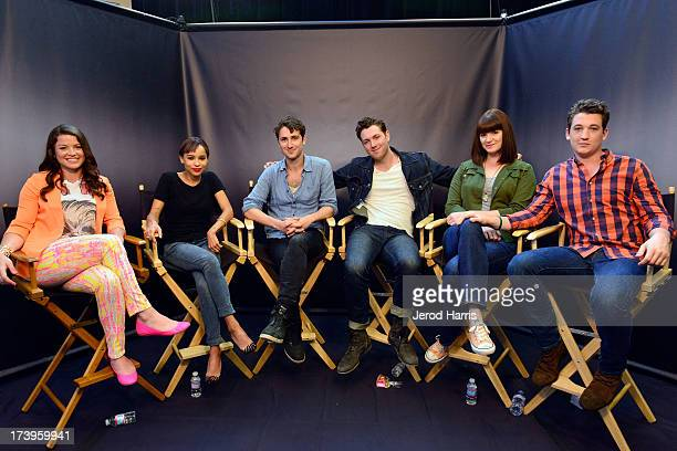 Host Camille Ford Zoe Kravitz Ben LloydHughes Christian Madsen Amy Newbold and Miles Teller of 'Divergent' attend an interview in the On Demand...