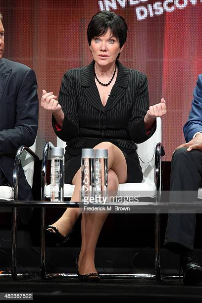Host Candice DeLong speaks onstage during the 'A New Season of ID' panel discussion at the Investgation Discovery portion of the 2015 Summer TCA Tour...