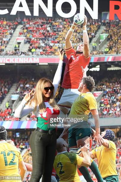 Host Carol Vorderman enjoys the pre match atmosphere outside the stadium prior to the Rugby World Cup 2019 Group D game between Wales and Uruguay at...