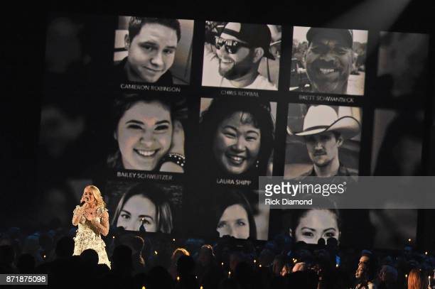 Host Carrie Underwood performs onstage at the 51st annual CMA Awards at the Bridgestone Arena on November 8 2017 in Nashville Tennessee