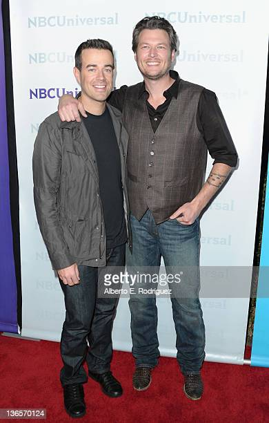 TV host Carson Daly and musician Blake Shelton arrive to the NBC Universal 2012 Winter TCA Tour AllStar Party on January 6 2012 in Pasadena California