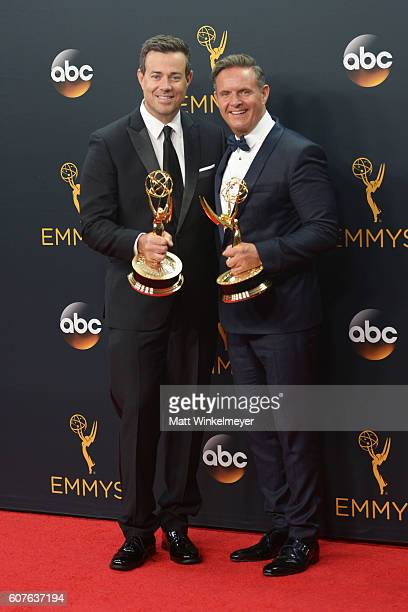 Host Carson Daly and producer Mark Burnett of 'The Voice' winner of the award for Outstanding RealityCompetition Series poses in the press room...