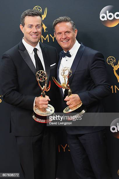 Host Carson Daly and producer Mark Burnett of 'The Voice' winner of the award for Outstanding RealityCompetition Series poses in the 68th Annual...