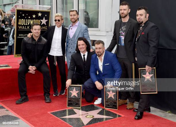 TV host Carson Daly comedian Ellen DeGeneres singers Lance Bass JC Chasez Joey Fatone Justin Timberlake and Chris Kirkpatrick attend the ceremony...