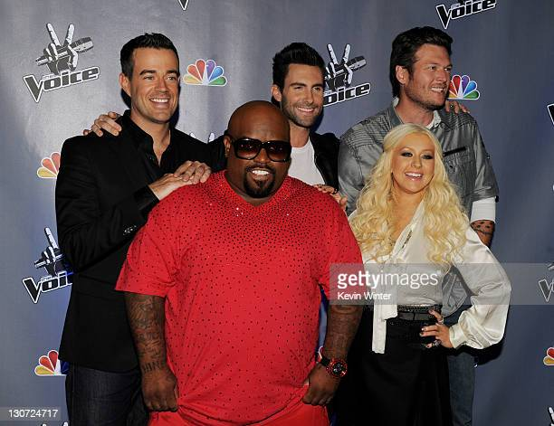 Host Carson Daly singers Cee Lo Green Adam Levine Christina Aguilera and Blake Shelton arrive at a press junket for NBC's The Voice at Sony Studios...