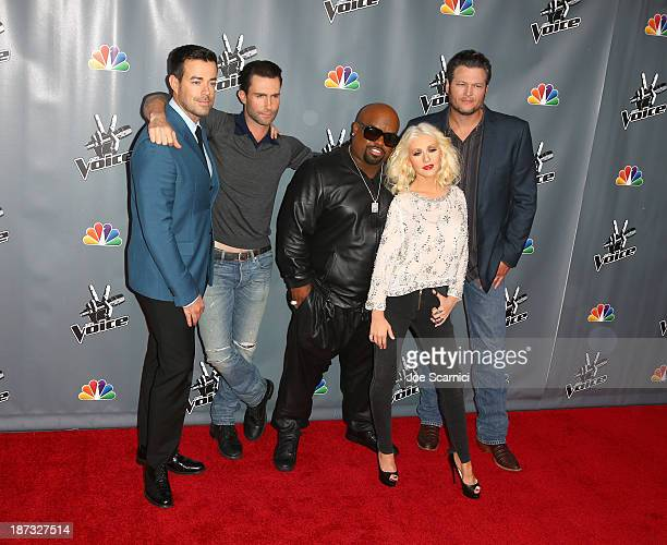 Host Carson Daly singers/judges Adam Levine CeeLo Green Christina Aguilera and Blake Shelton arrive at the The Voice Season 5 Top 12 Event at...