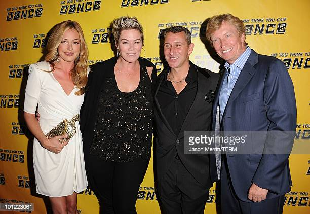 Host Cat Deeley judge Mia Michaels judge Adam Shankman and judge Nigel Lythgoe arrive at Fox's So You Think You Can Dance season 7 viewing party on...
