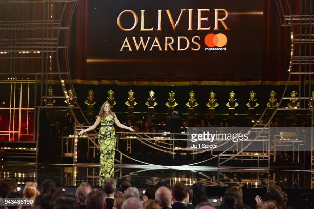 Host Catherine Tate speaks on stage during The Olivier Awards with Mastercard at Royal Albert Hall on April 8 2018 in London England