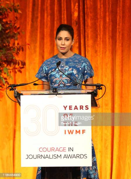 Host Cecilia Vega speaks on stage during The International Women's Media Foundation's 2019 Courage In Journalism Awards at Cipriani 42nd Street on...