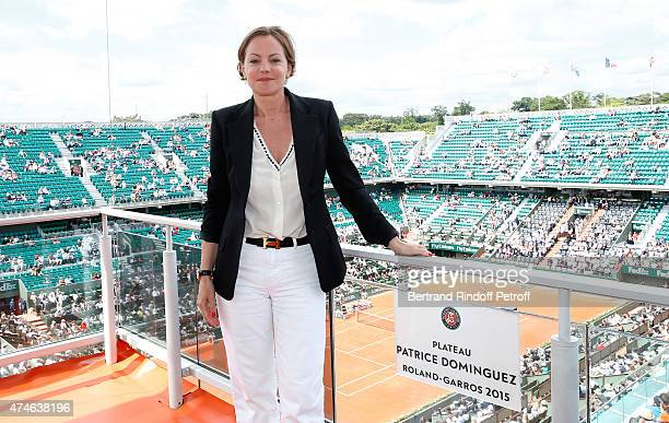 Host Cendrine Dominguez attends the Inauguration of the France Television set baptizes in Tribute to Patrice Dominguez on the Cours Philippe Chatrier...