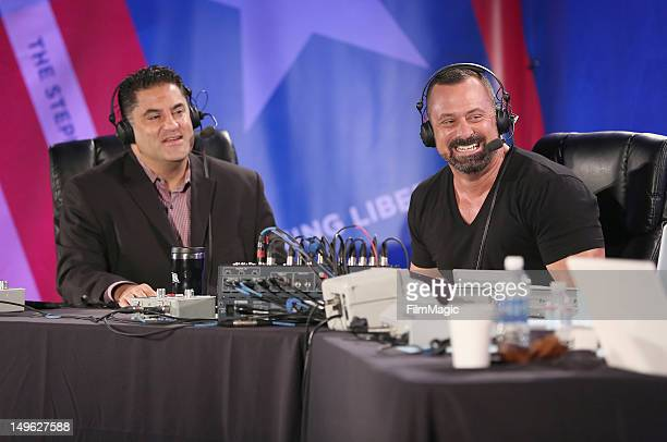 Host Cenk Uygur and producer Chris Lavoie speak during the Current TV TCA Breakfast at The Beverly Hilton Hotel on August 1 2012 in Beverly Hills...