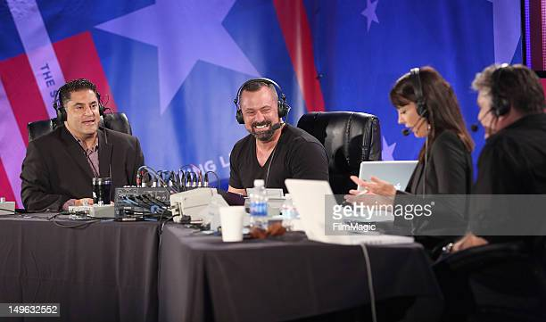 Host Cenk Uygur producer Chris Lavoie TV Host Stephanie Miller and producer Jim Ward speak during the Current TV TCA Breakfast at The Beverly Hilton...