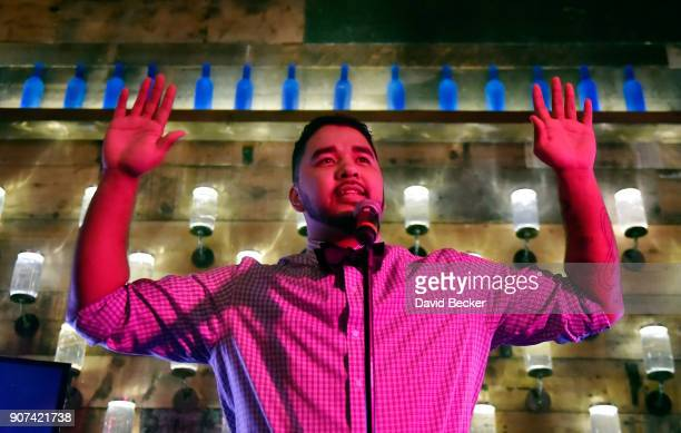 Host Chad Charlie speaks at Steelhouse and Eternal Front presents Beyond the Front Lines during the 2018 Sundance Film Festival on January 19 2018 in...