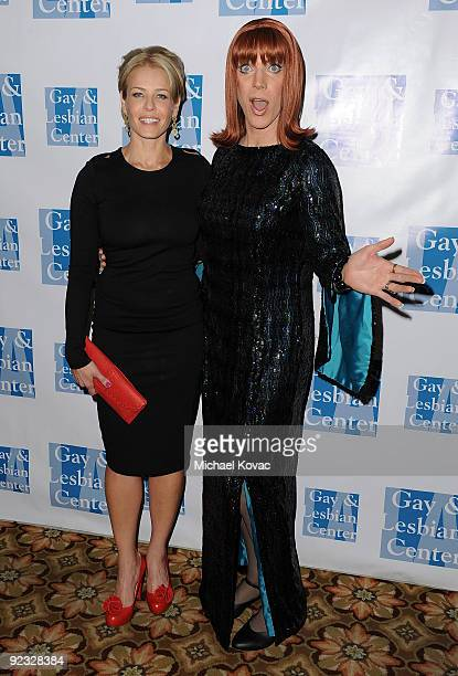 Host Chelsea Handler and honoree Miss Coco Peru attends the L.A. Gay & Lesbian Center's 38th Anniversary Gala at Hyatt Regency Century Plaza Hotel on...