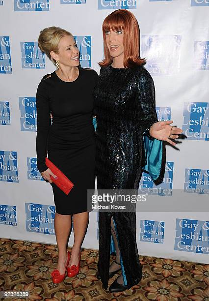 Host Chelsea Handler and Miss Coco Peru attend the L.A. Gay & Lesbian Center's 38th Anniversary Gala at Hyatt Regency Century Plaza Hotel on October...