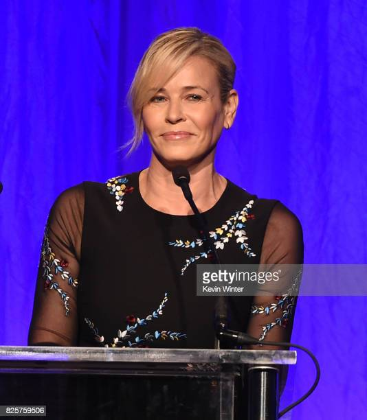 Host Chelsea Handler speaks onstage at the Hollywood Foreign Press Association's Grants Banquet at the Beverly Wilshire Four Seasons Hotel on August...