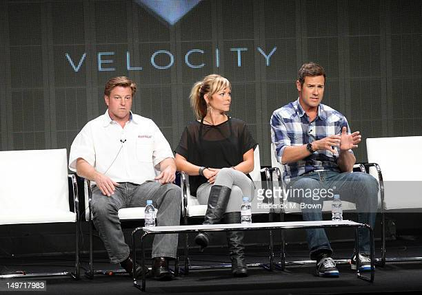 Host Chip Foose and cohosts Jessi Combs and Chris Jacobs speak at the 'Overhaulin' discussion panel during the Discovery Networks/Velocity portion of...