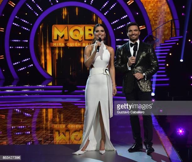 Host Chiquinquira Delgado and Julian Gil attends the Mira Quien Baila at Univision Studios on September 24 2017 in Miami Florida