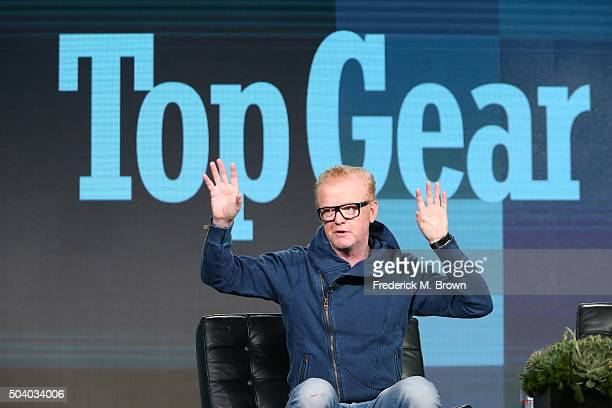Host Chris Evans speaks onstage during the Top Gear panel as part of the BBC America portion of This is Cable 2016 Television Critics Association...