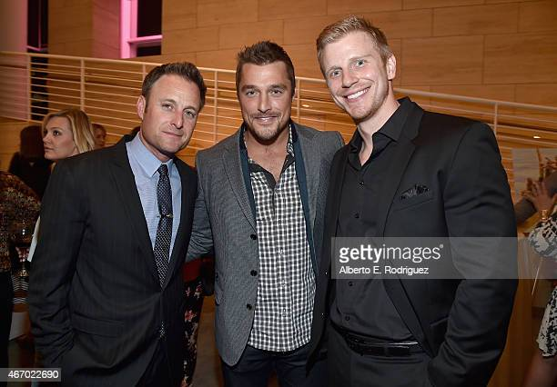 TV host Chris Harrison TV personalities Chris Soules and Sean Lowe attend the WE tv presents 'The Evolution of The Relationship Reality Show' at The...