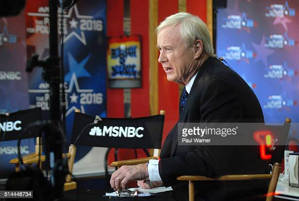 MSNBC host Chris Matthews waits on set at The American Coney Island restaurant during MSNBC's live election broadcast of the Presidential Primary...