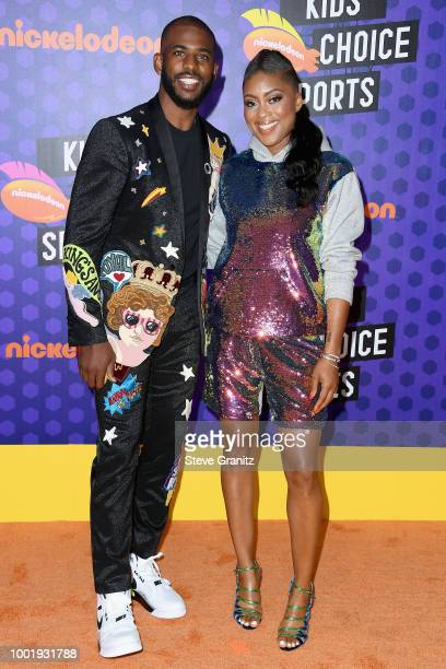 Host Chris Paul and Jada Crawley attend the Nickelodeon Kids' Choice Sports 2018 at Barker Hangar on July 19 2018 in Santa Monica California