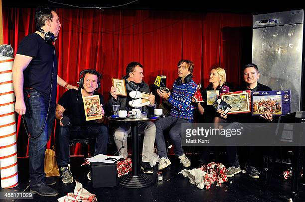 Host Christian O'Connell gives presents to Riche Firth Shane Richie David Tennant Maggie Doyle and Andrew Bailey recieve presents from the host...