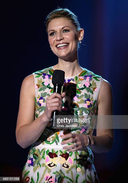 Host Claire Danes on stage during the 20th annual Nobel Peace Prize Concert at the Oslo Spektrum on December 11 2013 in Oslo Norway