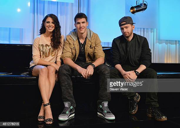 Host Clare Galterio musicians Cal Shapiro and Rob Resnick of Timeflies visit You A Music Choice on November 21 2013 in New York City
