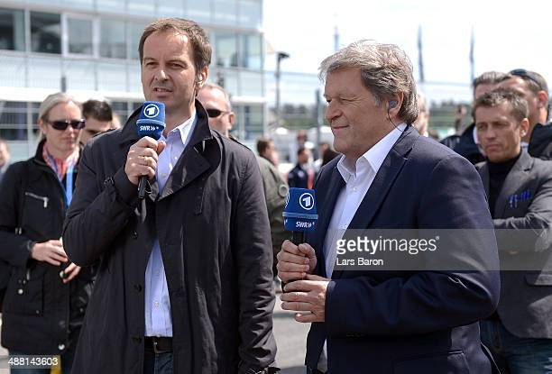 TV host Claus Lufen is seen with Norbert Haug during the first round of the DTM 2014 German Touring Car Championship at Hockenheimring on May 4 2014...