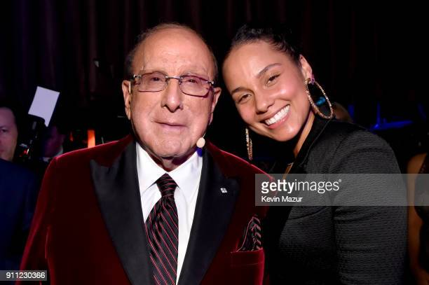 Host Clive Davis and recording artist Alicia Keys attend the Clive Davis and Recording Academy PreGRAMMY Gala and GRAMMY Salute to Industry Icons...