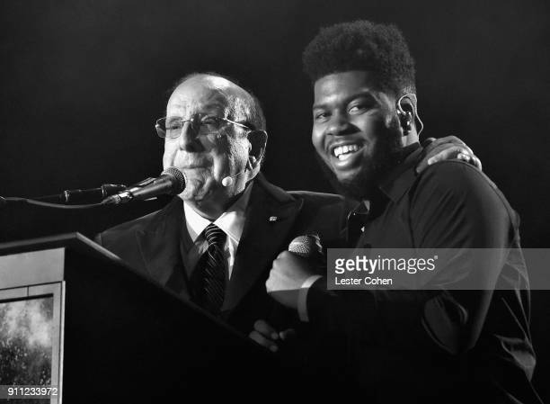 Host Clive Davis and recording artist Khalid attend the Clive Davis and Recording Academy PreGRAMMY Gala and GRAMMY Salute to Industry Icons Honoring...