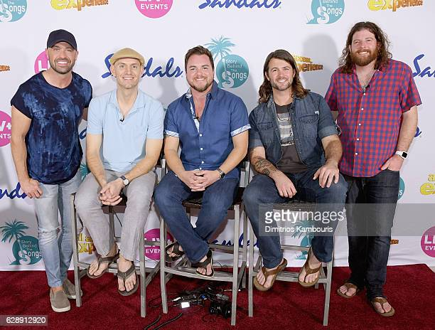 Host Cody Alan and recording artists Jon Jones Mike Eli Chris Thompson and James Young of Eli Young Band attend CMT Story Behind The Songs LIV...