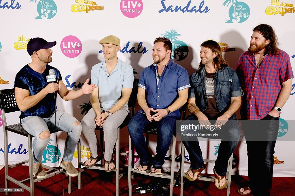 Host Cody Alan interviews recording artists Jon Jones, Mike Eli, Chris Thompson, and James Young of Eli Young Band during CMT Story Behind The Songs LIV + Weekend at Sandals Royal Bahamian Spa Resort & Offshore Island - Day 2 at Sandals Royal Bahamian on December 9, 2016 in Nassau, Bahamas.