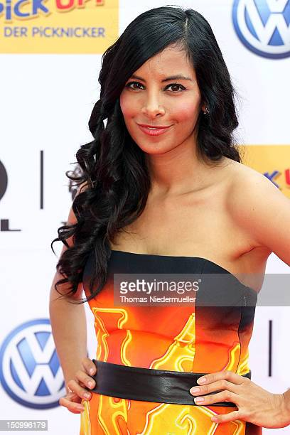 TV host Collien UlmenFernandes arrives at 'The Dome 63' music show at the Forum Ludwigsburg on August 29 2012 in Ludwigsburg Germany