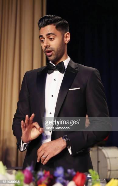 Host comedian Hasan Minhaj speaks on stage during 2017 White House Correspondents' Association Dinner at Washington Hilton on April 29 2017 in...