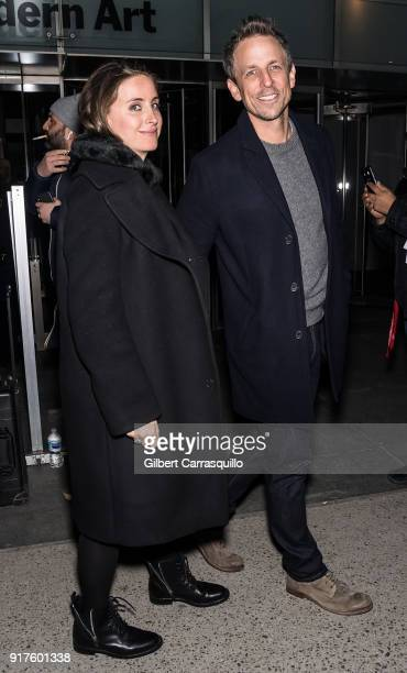 Host comedian Seth Meyers and wife Alexi Ashe are seen arriving to the Carolina Herrera fashion show during New York Fashion Week at the Museum of...