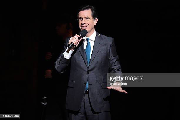 Host comedian Stephen Colbert speaks on stage prior to 'Hamilton' GRAMMY performance for The 58th GRAMMY Awards at Richard Rodgers Theater on...