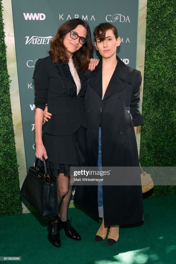 Host Committee members Elizabeth Stewart (L) and Karla Welch attend the Runway To Red Carpet, hosted by Council of Fashion Designers of America, Variety and WWD at Chateau Marmont on February 20, 2018 in Los Angeles, California.