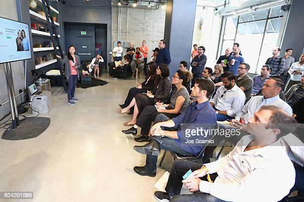 LOS Host Community Operations Airbnb Suana Wang speaks during Expand Your Business Host for Others at Skingraft during Airbnb Open LA Day 2 on...