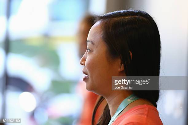 Host Community Operations Airbnb Suana Wang speaks during Expand Your Business Host for Others at Skingraft during Airbnb Open LA Day 2 on November...
