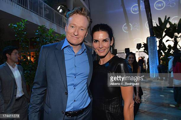 TV host Conan O'Brien and actress Angie Harmon attend TNT's 25th Anniversary Party at The Beverly Hilton Hotel on July 24 2013 in Beverly Hills...