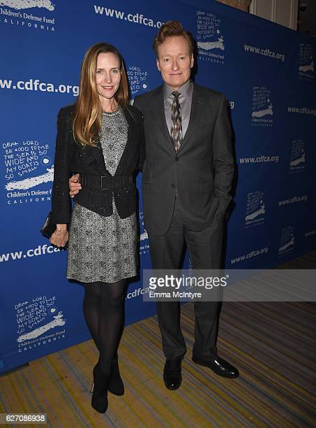 Host Conan O'Brien and CDF cochair Liza O'Brien attend the 26th Annual Beat The Odds Awards hosted by Children's Defense Fund California at Regent...