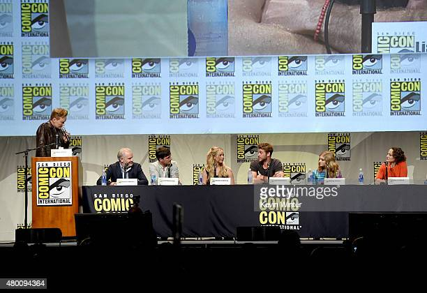 TV host Conan O'Brien director Francis Lawrence actors Josh Hutcherson Jennifer Lawrence Liam Hemsworth and Willow Shields and producer Nina Jacobson...