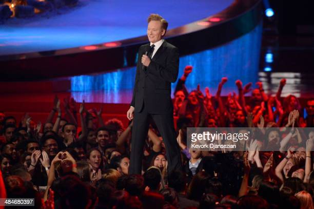 Host Conan O'Brien speaks onstage at the 2014 MTV Movie Awards at Nokia Theatre L.A. Live on April 13, 2014 in Los Angeles, California.